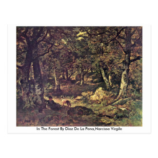Na floresta por Díaz De La Pe�a, Narciso Virgile Cartão Postal