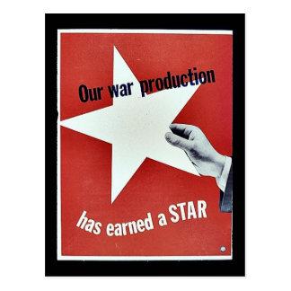 Na guerra a produção ganhou uma estrela cartao postal