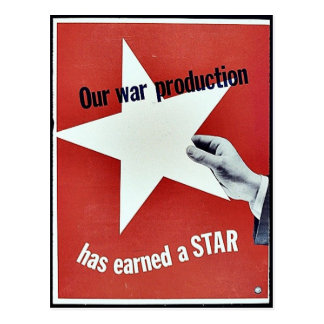 Na guerra a produção ganhou uma estrela cartão postal