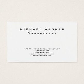 Na moda branco preto simples liso minimalista cartão de visitas