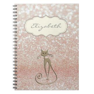 Na moda elegante, Bokeh brilhante, Glittery, gato Cadernos