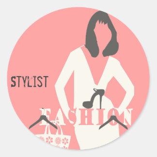 Na moda feminino cor-de-rosa do estilista da forma adesivo