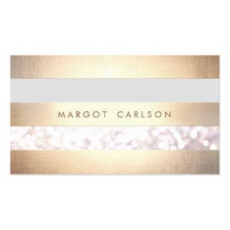 Na moda listrado elegante da folha de ouro do cartão de visita