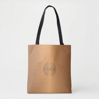 Na moda metálico do monograma do nome do círculo bolsa tote