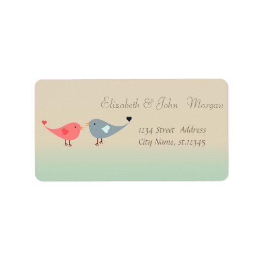 Na moda moderno elegante, pássaros no amor etiqueta de endereço