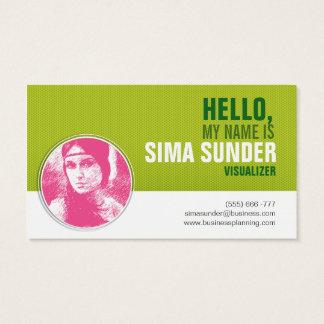 Na moda moderno verde fundo pontilhado cartão de visitas