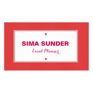 Na moda moderno vermelho fundo pontilhado cartão de visita