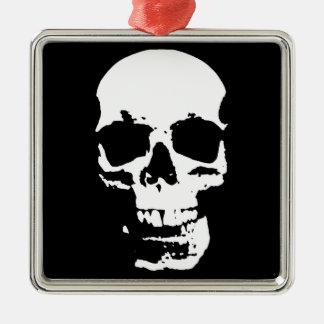 Na moda preto & branco do crânio do pop art legal ornamento quadrado cor prata