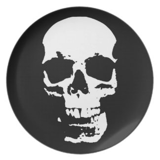 Na moda preto & branco do crânio do pop art legal prato