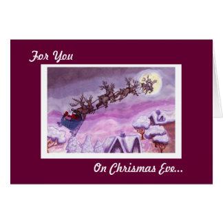 Na Noite de Natal, cartão da rena do papai noel da