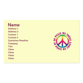 Na paz nós confiamos cartões de visitas