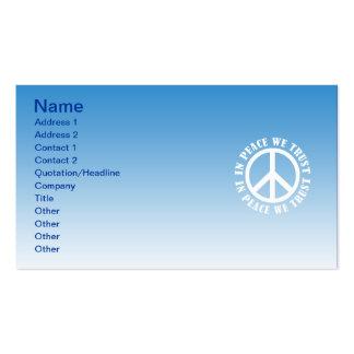 Na paz nós confiamos cartoes de visita