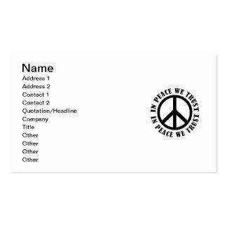 Na paz nós confiamos modelo cartão de visita