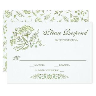 Na pradaria que Wedding o cartão de RSVP