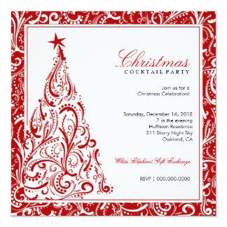 Na venda! Vermelho colorido da árvore de Natal | Convites Personalizado