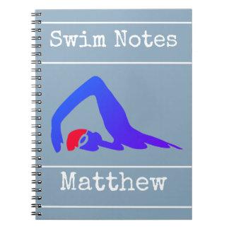 Nadador azul, notas da natação, personalizadas caderno
