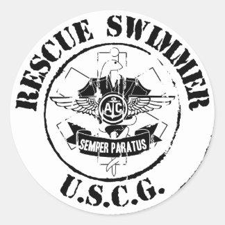 Nadador do salvamento (Grunge) Adesivo Em Formato Redondo