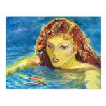 Nadador fêmea principal vermelho das belas artes cartoes postais