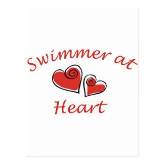 Nadador no coração cartão postal