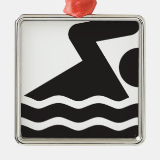 Nadador Ornamento Quadrado Cor Prata