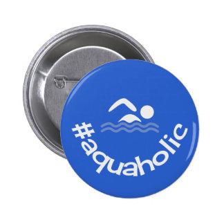 Nadadores aquaholic do azul do divertimento de bóton redondo 5.08cm