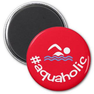 Nadadores aquaholic do vermelho do divertimento de ímã redondo 5.08cm