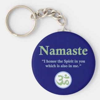 Namaste - com citações e símbolo do OM Chaveiro