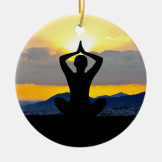 Namaste, nascer do sol da ioga, enfeites de natal