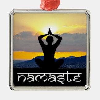 Namaste, nascer do sol da ioga, enfeites de natal,