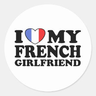 Namorada francês adesivos em formato redondos
