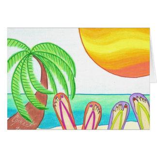 Namoradas em férias cartão comemorativo