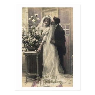 Namoradeira do francês - amor romântico do vintage cartão postal