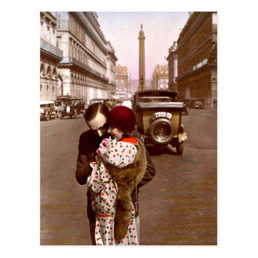 Namoradeira do francês - amor romântico do vintage cartao postal