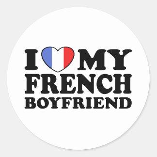 Namorado francês adesivos em formato redondos