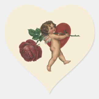 Namorados anjo do Victorian do vintage, coração da Adesivo Coração