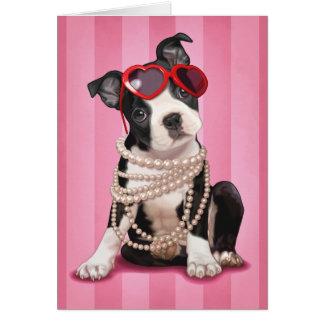 Namorados Boston Terrier Cartão Comemorativo