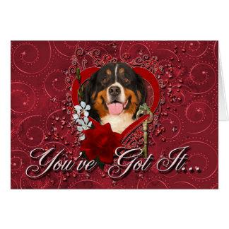 Namorados - chave a meu coração - cão de montanha cartão
