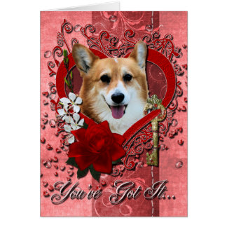 Namorados - chave a meu coração - Corgi - Owen Cartão Comemorativo