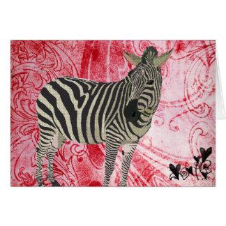 Namorados da zebra do vintage cartão comemorativo
