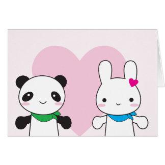 Namorados de Kawaii do coelho e da panda Cartão De Nota
