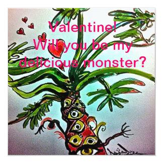 Namorados deliciosos do monstro convite quadrado 13.35 x 13.35cm