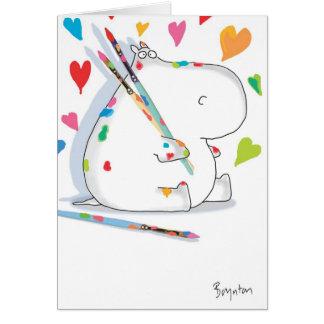 Namorados do ARTISTA do HIPOPÓTAMO por Boynton Cartão Comemorativo