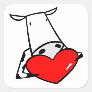 Namorados do coração da vaca eu amo vacas adesivos quadrados