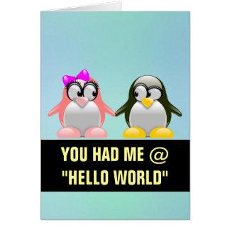 Namorados do geek do computador: Amor do linguagem Cartão De Nota