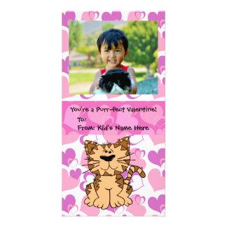 Namorados dos miúdos da menina personalizada gato cartão com foto
