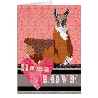 Namorados dourados do rosa do amor do lama cartão comemorativo