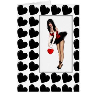 Namorados Hearted pretos Cartão Comemorativo