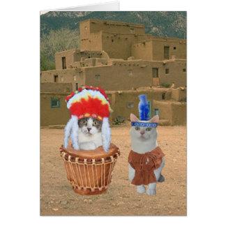 Namorados indianos do gatinho do nativo americano cartão comemorativo