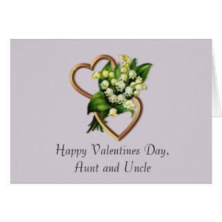 Namorados para a tia e o tio com o lírio do vale cartão