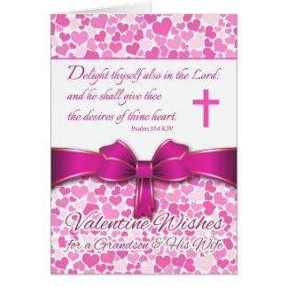 Namorados religiosos para o neto & a esposa, salmo cartão comemorativo